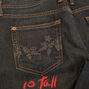 Embroidered Pocket Tall Jeans Eddie Bauer Sz 10T